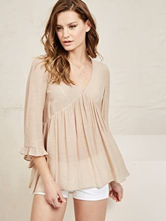 37cd8b1768834 NOA ELLE Womens 3 4 Sleeves Boho Peasant Top With Ruffled Detail. Roll over  image to zoom in