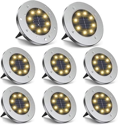 ZGWJ Solar Ground Lights,8 LED Solar Garden Lights Disk Lights Outdoor Waterproof Landscape Lights for Yard Walkway Patio Lawn Driveway Decoration 8 Pack Warm White