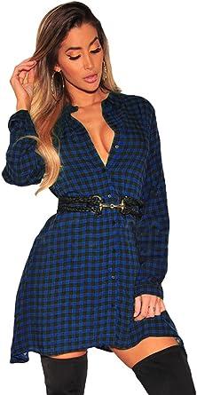 CHENGYANG Mujer Camisas a Cuadros Blusa de Moda de Manga Larga Casual Camisetas Vestido Sin Correa: Amazon.es: Ropa y accesorios