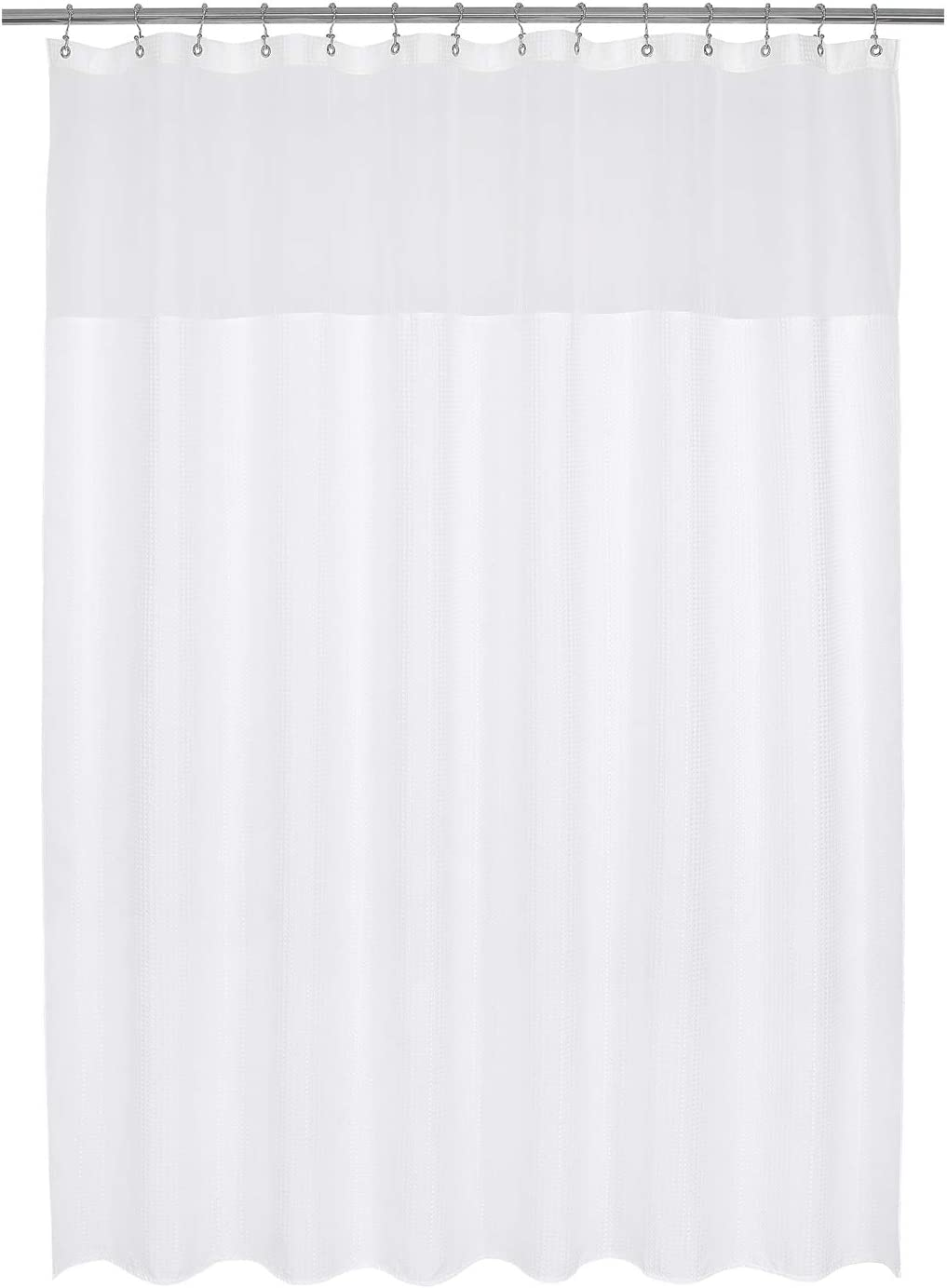 Barossa Design Extra Long and Wide Fabric Shower Curtain with Sheer Window 84 x 84 inch, Waffle Weave, Hotel Collection, 230GSM Heavyweight, Water Repellent, Machine Washable, White, 84x84 Large