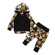 URMAGIC Newborn Baby Boy Halloween Outfits Pumpkin Monster Printed Long Sleeve Romper Hoodie Brother Matching Clothing Set, Color: Hooded
