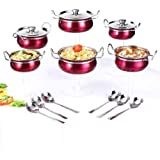 Ideale Induction Friendly 6 Cook Serveware & 6 Serving Spoon Ideale-Pink