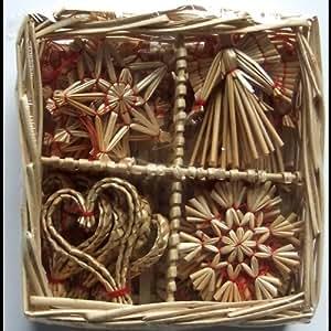 Amazon.com: Christmas Straw Ornaments - Set of 24 pieces ...