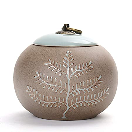 5 Medium Cremation Urn Funeral Urns Burial Urns for Human Ashes and Pet Hand-Painted Brown Leafoflife