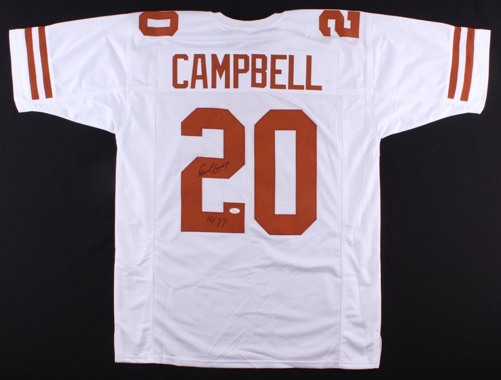Earl Campbell Autographed White Texas Longhorns Jersey - Hand Signed By Earl Campbell and Certified Authentic by JSA - Includes Certificate of Authenticity - Inscribed HT 77