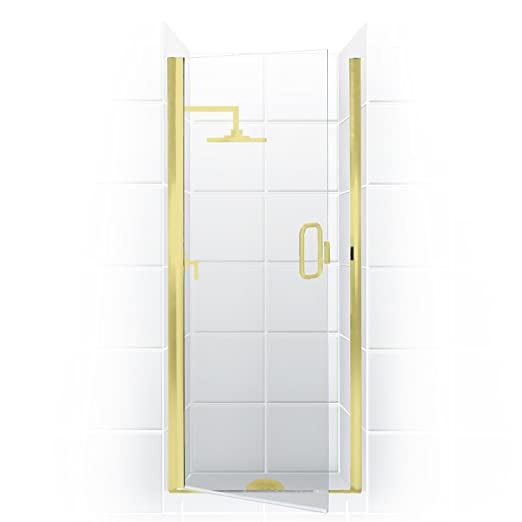 paragon series semi frameless continuous hinge shower door 34 in w x 82 in h with c pull handle in oilrubbed bronze finish with clear glass coastal