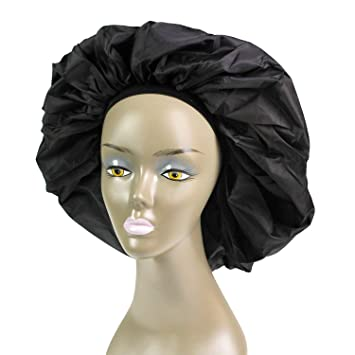 BLACK Breathable Elastic Band Satin Sleep Cap Luxury Selection NEW