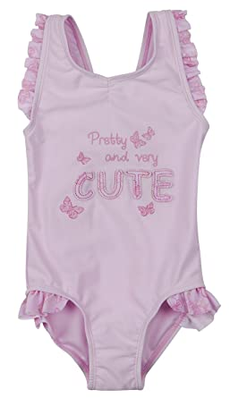 Minikidz Girls Frilled Swimming Costume Swimsuit Pink Butterfly