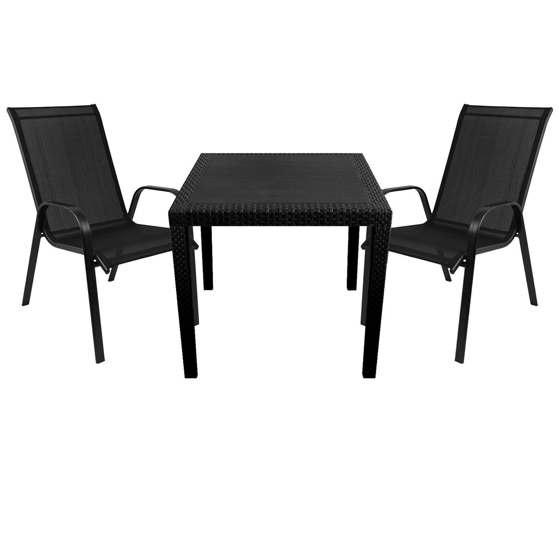 3tlg. Gartenmöbel Set Gartentisch in Rattan-Optik 79x79cm Kunststoff ...