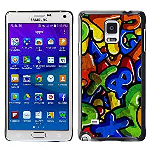 LECELL--Funda protectora / Cubierta / Piel For Samsung Galaxy Note 4 SM-N910 -- Colorful Numbers Letters Kids --