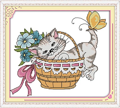 DIY Arts, Crafts & Sewing Needlework Stamped Cross Stitch Patterns 11 Count Embroidery Kits Cats Cross-Stitching Needlepoints Animal Home Wall Decor for Adults Kids, The Little Cat