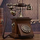 CHENGYI Style ancien en bois massif à rotation Téléphone à composition Style européen Bureau à domicile rétro Téléphone fixe ( Couleur : Walnut wood color )