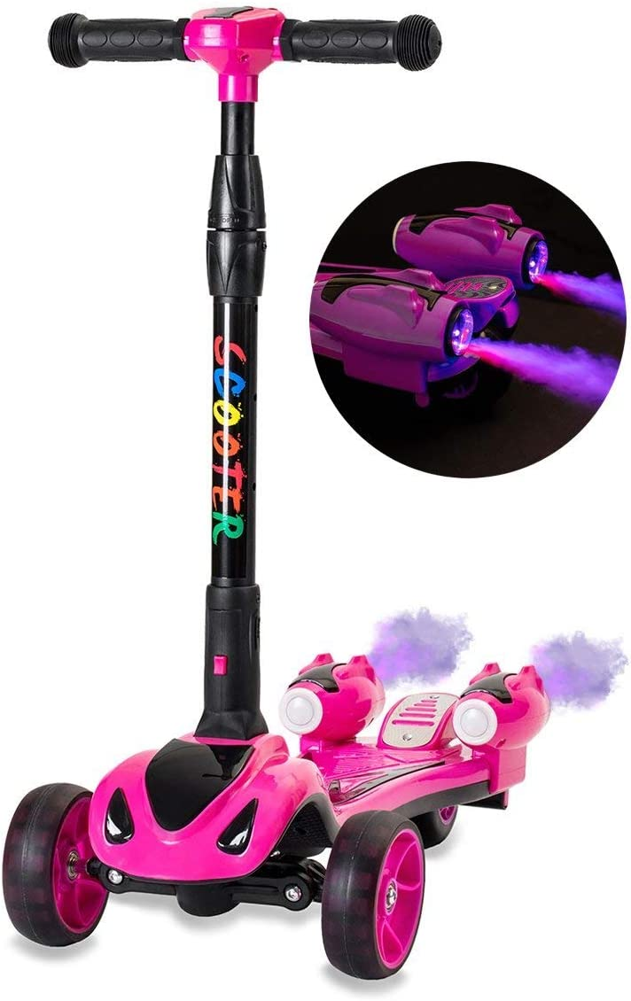 Glare Wheel Original Rocket Kids Kick Scooter, Music, 3 Color Lighted Wheels, Spray Vapor – Just Add Water, Sturdy Steering Handlebar, Stable Board, Adjustable Height Folding Design