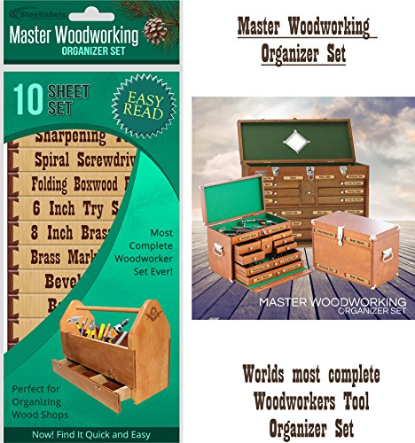 "Tool Box Labels for the craftsman ""Masterful Woodworker Organizer Set"" - worlds most complete set of custom cabinet labels for wood working tools - for professional's and hobbyist's - 10 flat sheet set"