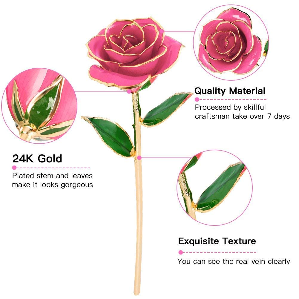 Wedding Mothers Day Forever Gold Plated Rose Dipped Rose with Transparent Stand Best gift for Lover Anniversary Gold Rose 24K Artificial Flowers Birthday Gift Valentines Day Mother Girlfriend