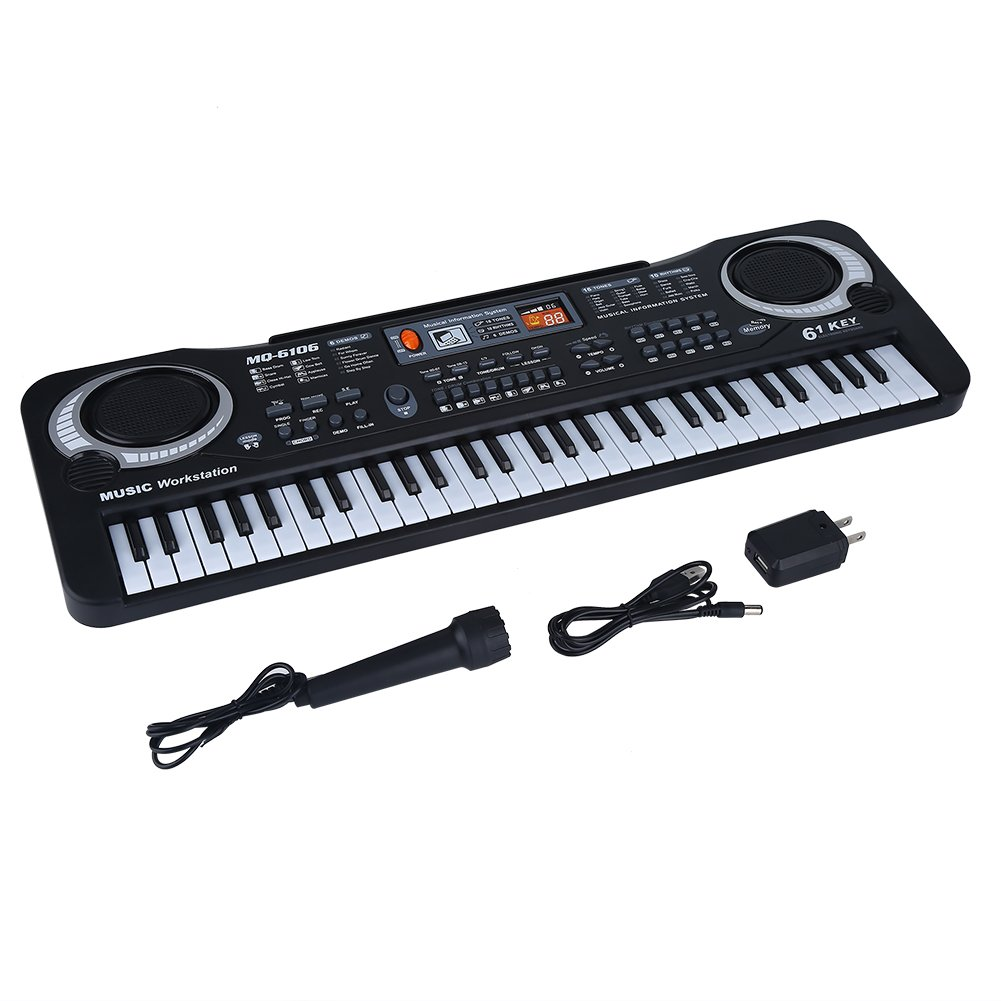 Kids Piano 61-Key Electronic Keyboard Portable Digital Piano with Microphone Organ Musical Keyboard Piano Educational Toy for Children Toddlers VGEBY