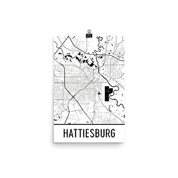 Amazon.com: Hattiesburg Print, Hattiesburg Art, Hattiesburg Map ...