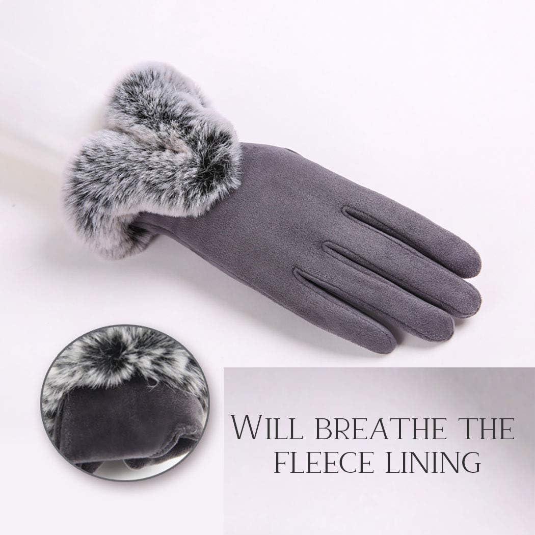Daumenloch Handschuhe f/ür den Winter fingerlos Ushiny Damen Winter-Handschuhe aus Kunstfell Handgelenkw/ärmer Lederhandschuh