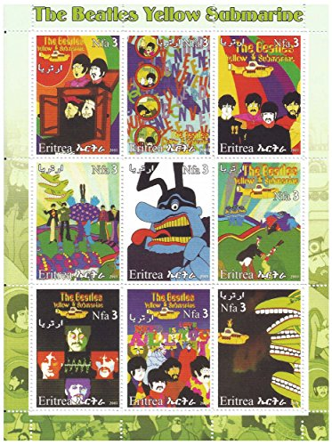 The Beatles Yellow Submarine stamp sheet with 9 mint stamps - psychedelic artwork from the ()