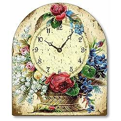 Item C1110 Vintage Style Victorian Flower Basket Tabletop Clock
