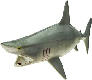 """Rockin Gear Toy Shark - Great White Shark - Rubber Toy Figure - Rubber Shark 9"""" Inch - Squeeze The Shark to Hear it Squeal - Bathtub Toy (Gray)"""