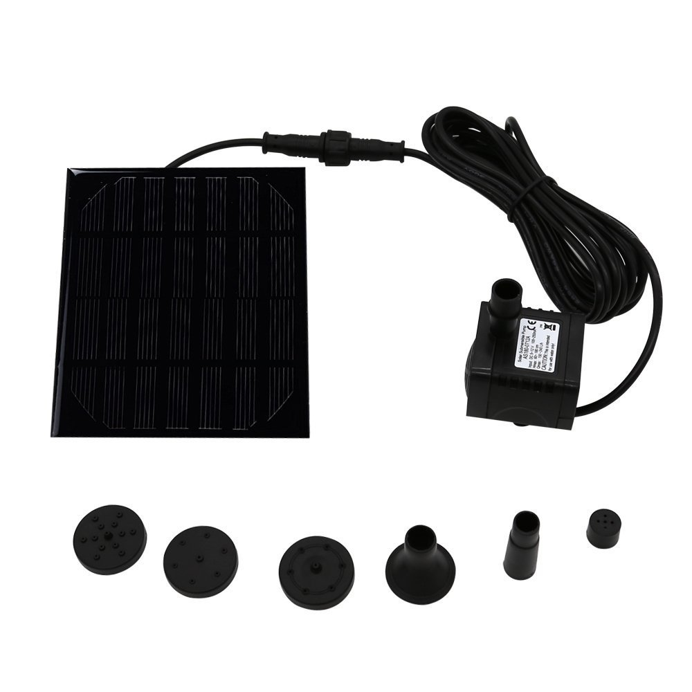 1.2W 40-64GPH Solar Pump Kit with Free Standing Floating Design & Diversified Nozzle, Solar-powered Brushless DC Water Pump for Pond Birdbath Fountain Pool Garden Reach Up 17.7inches(Square) Naisicatar