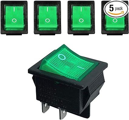 10 pack -  BOAT switch green LED light 12 volt ON // OFF 12vDC 16 AMP