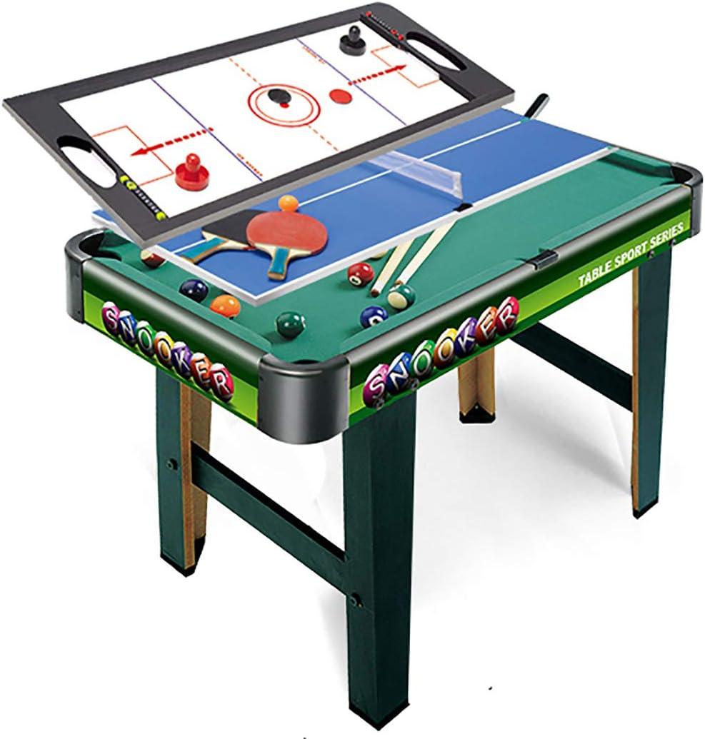 WLDOCA 3 en 1-2.5Ft Verde Mesa de Billar + Hockey Air + Pista de Tenis de Mesa, Juguetes para los niños del Cabrito y Oficina en casa la Familia Que juegan