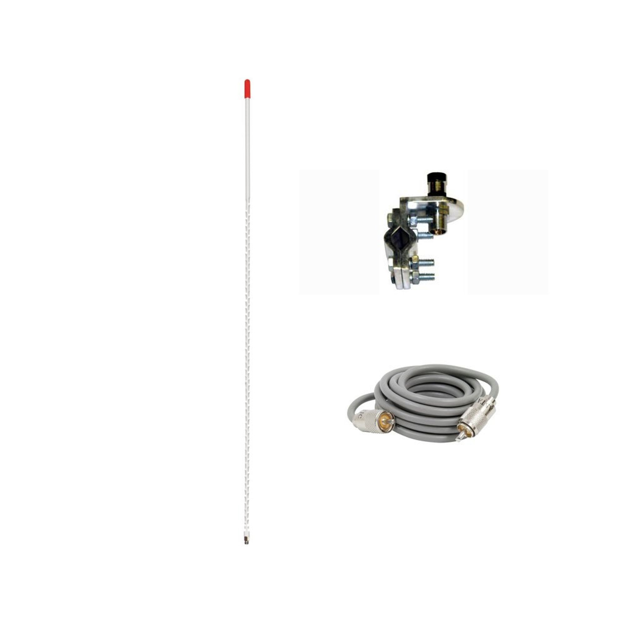 Pro Trucker Single 4' 1,000 Watt CB Radio Antenna Kit With Mirror Mount, Antenna Stud and 9' Coax Cable - White