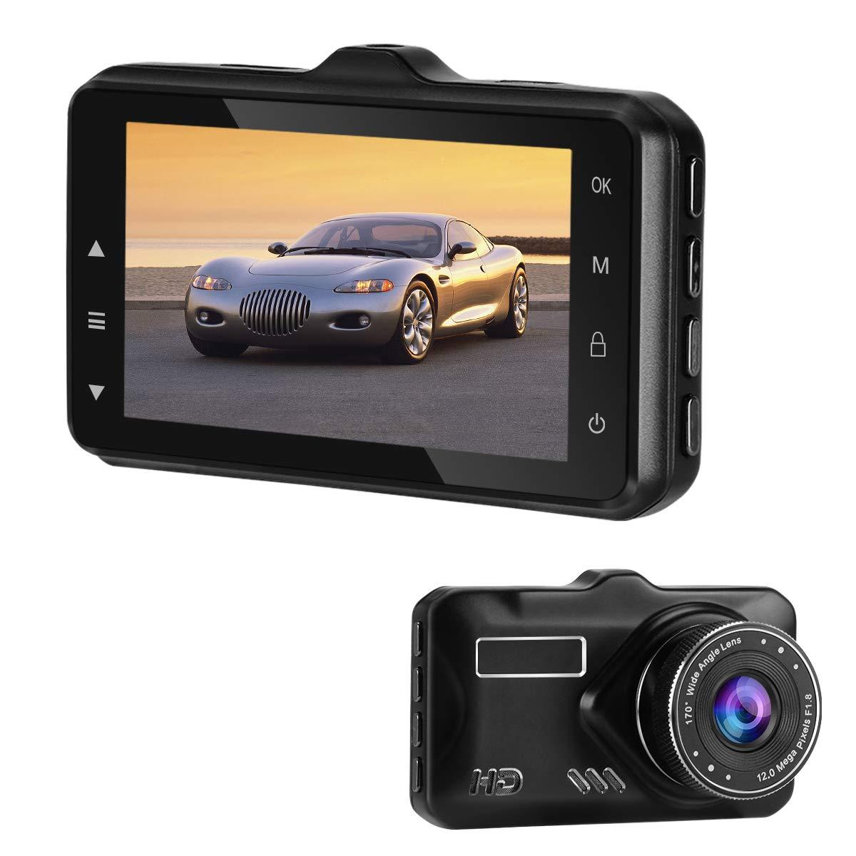 Dash Cam, Car Camera 1080P FHD Car DVR Driving Recorder 3'' LCD Screen 170°Wide Angle, G-Sensor, WDR, Parking Monitor, Loop Recording, Motion Detection (Black)