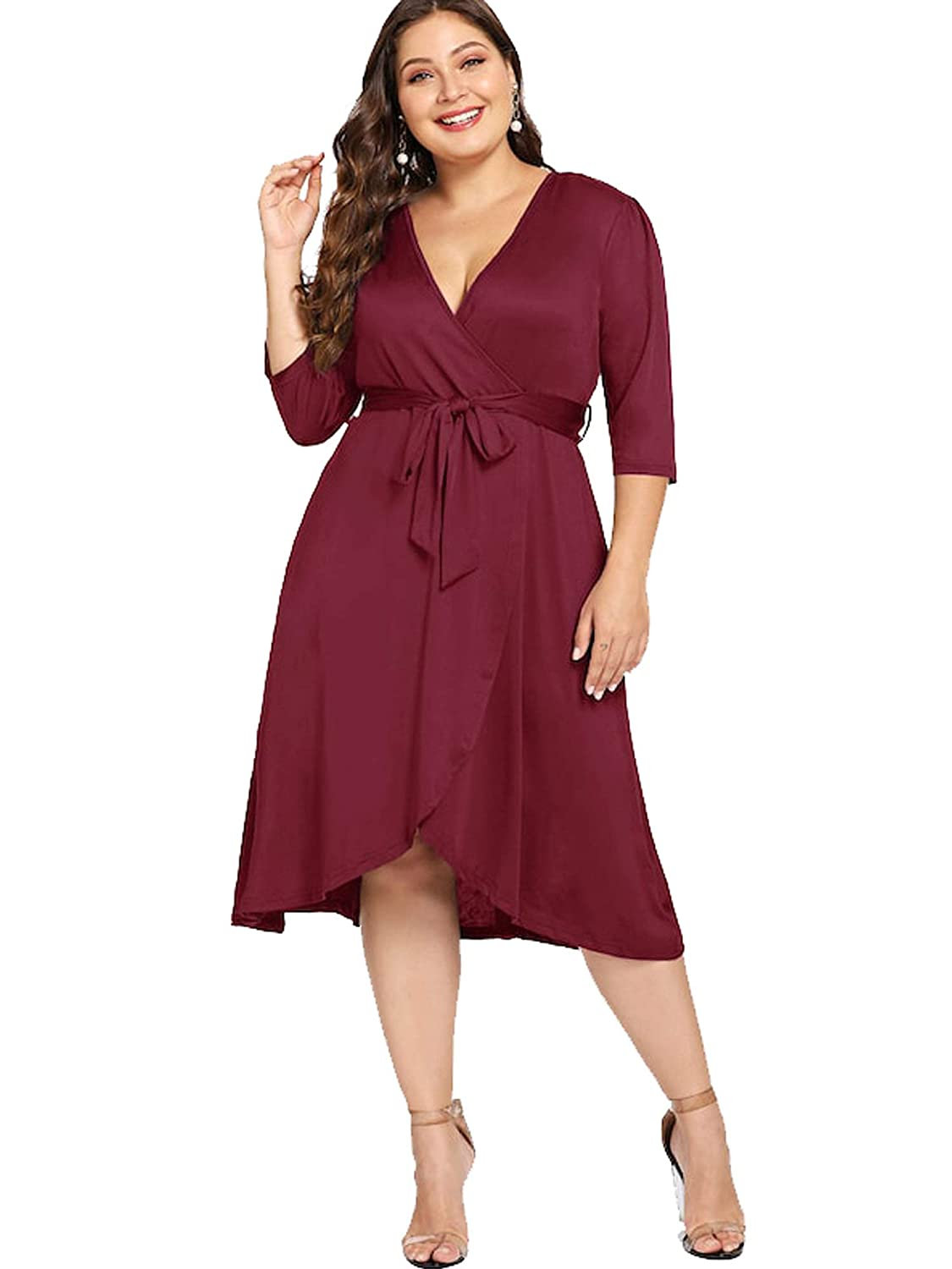 ae926b56172c2 ESPRLIA Women's Empire Waist Plus Size Midi Casual Cocktail Dresses with  Belt at Amazon Women's Clothing store: