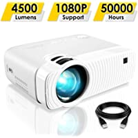 "Mini Projector, ELEPHAS 4500 Lumens Portable Projector Max 180"" Display 50000 Hours Lamp Life LED Video Projector…"