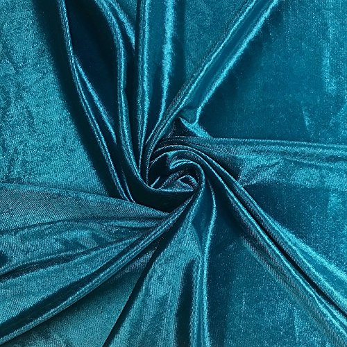 Stretch Velvet Fabric 60'' Wide by the Yard for Sewing Apparel Costumes Craft (1 YARD, Teal)