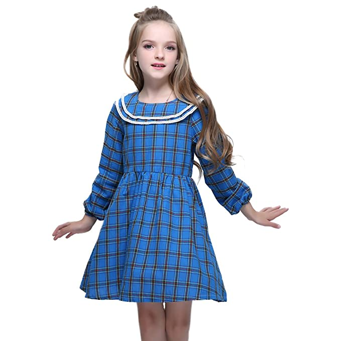 84d48746c Amazon.com: Kseniya Kids Big Little Girls Peter Pan Collar Dresses Plaid Long  Sleeve Autumn Winter Girl Cotton Dress: Clothing