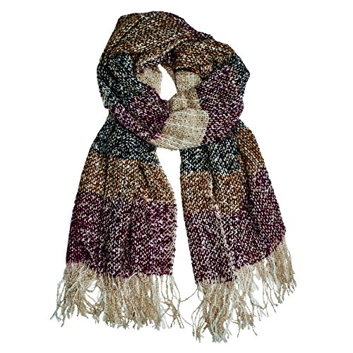 San Diego Hat Company Women's Yarn Dyed Woven Stripe Oblong Scarf, Multi, One Size