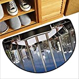 warmfamily Modern Bathroom Suction Door mat Business Office Conference Room Table Chairs City View at Dusk Realistic Photo Breathability W23 x L15 Grey Black Blue