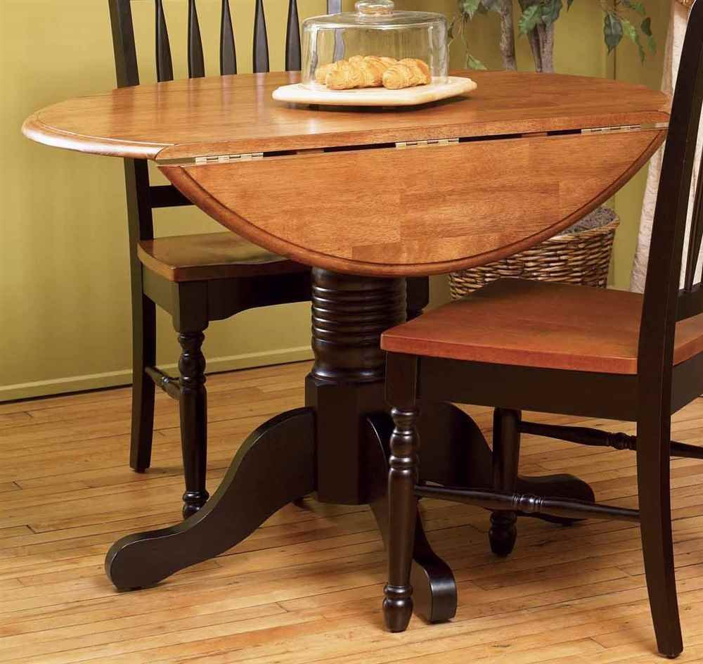A-America British Isles Round Drop Leaf Dining Table in Espresso