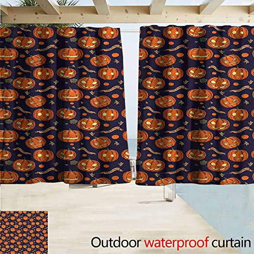 MaryMunger Balcony Curtains Halloween Different Pumpkin Faces Draft Blocking Draperies W63x63L Inches