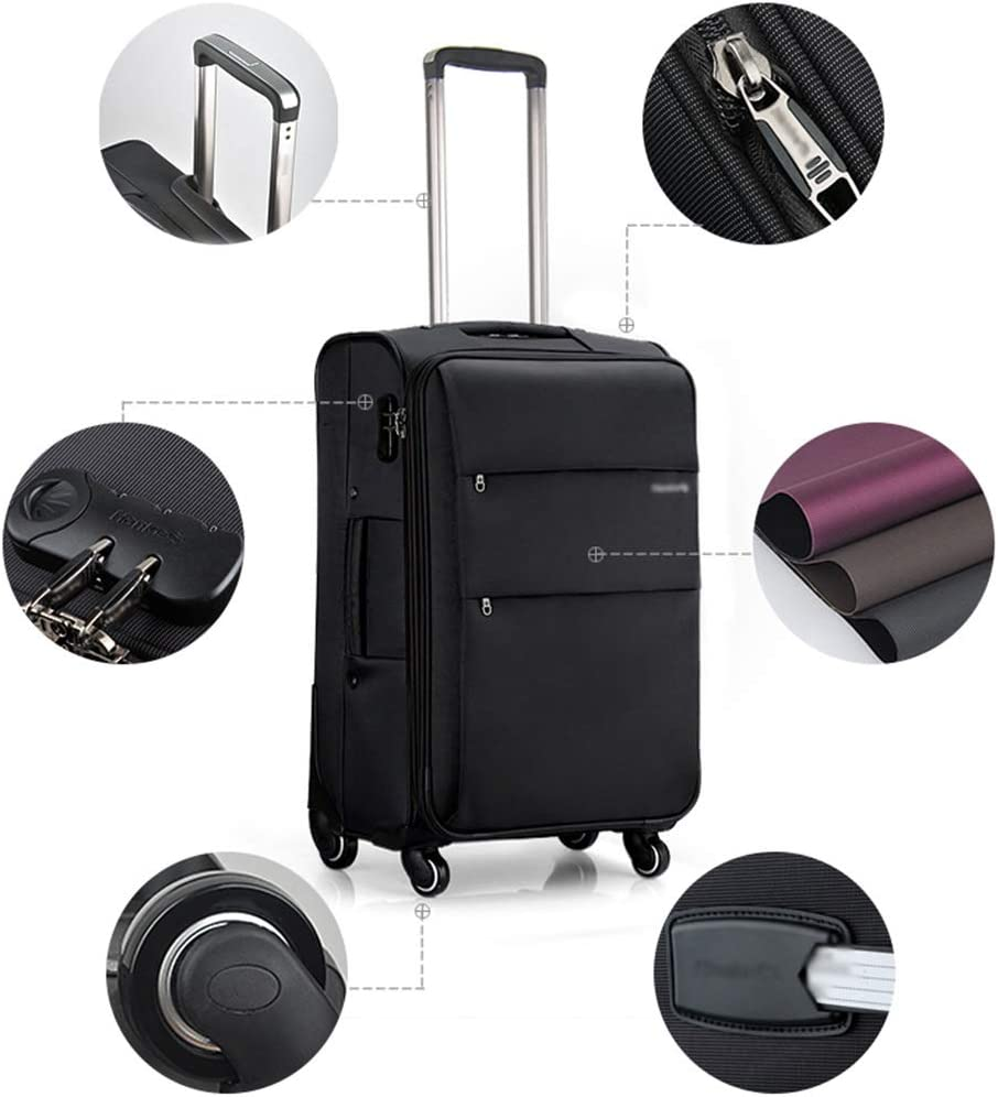 ZJ-Trolley Trolley Case-Student Box Trolley Case Universal Wheel Luggage Box for Men and Women Boarding Abroad Password Suitcase 3 Colors 3 Color : Brown, Size : 24 Inch