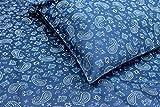 Thread Experiment Paisley Bandana Print Matte Sateen Sheet Set for Men, Navy / White, Twin Extra Long