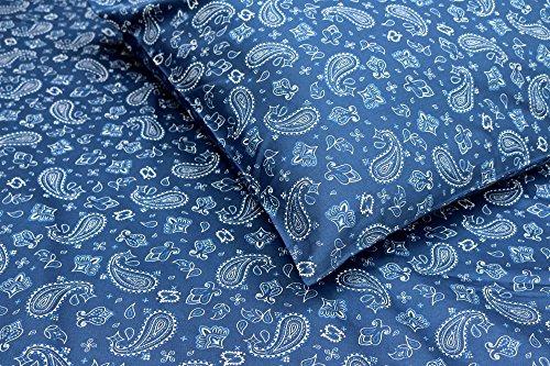 Thread Experiment Paisley Bandana Print Matte Sateen Sheet Set for Men, Navy / White, Queen (Sheets Bed Bandana)