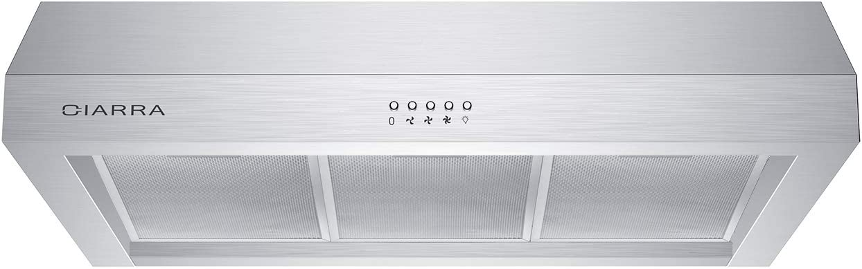 CIARRA CAS75908A Under Cabinet Range Hood 30 inch 450 CFM with Ducted/Ductless Convertible, Stainless Steel Kitchen Stove Vent with 3 Speed Exhaust Fan, Dishwasher-Safe Permanent Filter, Push Button