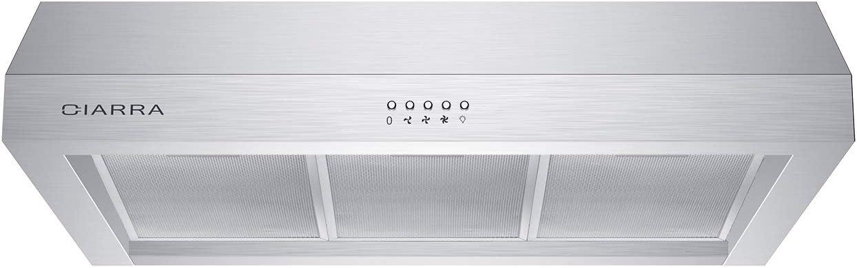 CIARRA CAS75908A Under-Cabinet Range Hood 30 inch 450 CFM