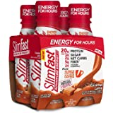 SlimFast Advanced Energy Caramel Latte Shake – Ready to Drink Meal Replacement – 20g of Protein, 11 fl. oz. Bottle, 4 Count