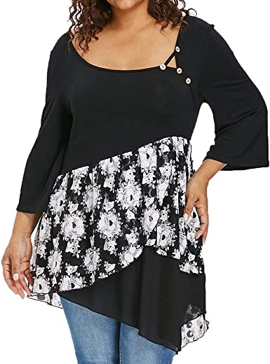 Ladies Print Floral Flared Tunic Top 3//4 Sleeves Casual Work Plus Size 12-20