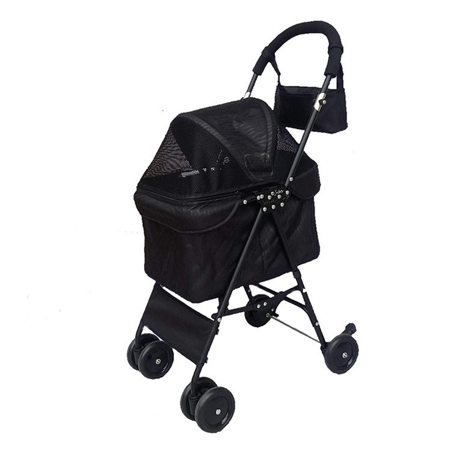 Black ZH1 Pet Bag Pet Trolley Cat Dog Carts Carrier Split Type Pet Pushchair Pet Stroller Dog Gram for Small Dogs 10kg 4 Wheel (color   Black)