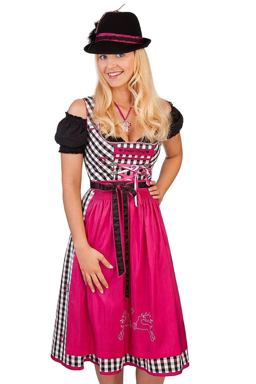 Trachten Mididirndl 2tlg. - NADJA - schwarz/pink