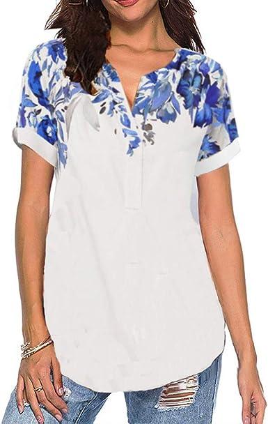 Camisa Estampada con Cuello En V Suelta Casual De Verano para Mujeres Nuevas Camiseta De Manga Corta: Amazon.es: Ropa y accesorios
