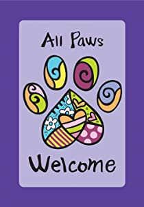 Toland Home Garden All Paws Welcome 12.5 x 18 Inch Decorative Heart Puppy Dog Kitty Cat Pet Garden Flag - 119513, Purple/Black/Blue/Green