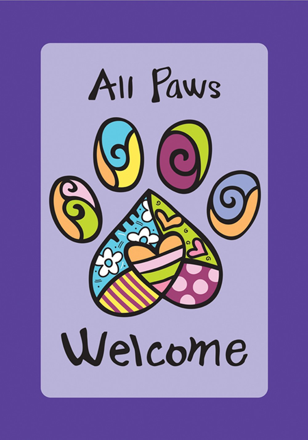 Toland Home Garden 112669 Toland-Welcome Paws Purple-Decorative Double Sided Pet Dog Cat Animal USA-Produced Garden Flag